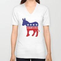 north carolina V-neck T-shirts featuring North Carolina Democrat Donkey by Democrat