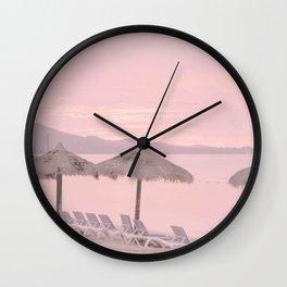 Soft Pink Tropical Beach Sunset Photo  Wall Clock