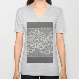 White color straight strip of lace fabric on gray background. Elastic silk nylon braid border. Unisex V-Neck