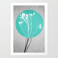 decal Art Prints featuring Abstract Flowers 1 by Mareike Böhmer