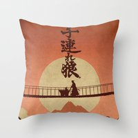 okami Throw Pillows featuring Kozure Okami by WITHSTAND