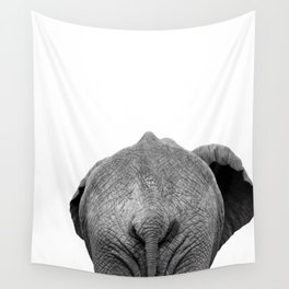 Elephant Butt, Black and White African Animal Wall Tapestry