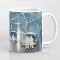 snowboarding Mugs featuring Lift Me Up by Amanda Royale