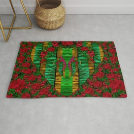 loveable landscape in big flower blooms Rug