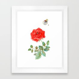 Le Petit Prince Little Prince with Fox & Rose vertical Framed Art Print