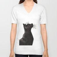 black cat V-neck T-shirts featuring Black Cat by Cedric S Touati