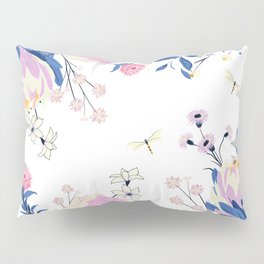 Floral pattern King Protea pink blush blue grey Pillow Sham