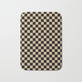 Black and Tan Brown Checkerboard Bath Mat