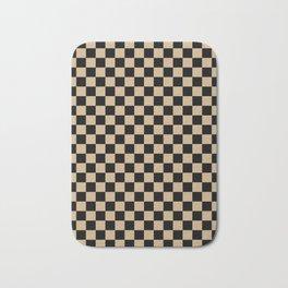 Black and Tan Brown Checkerboard Bath Mat