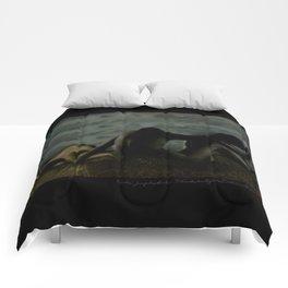 Three women in a field Comforters
