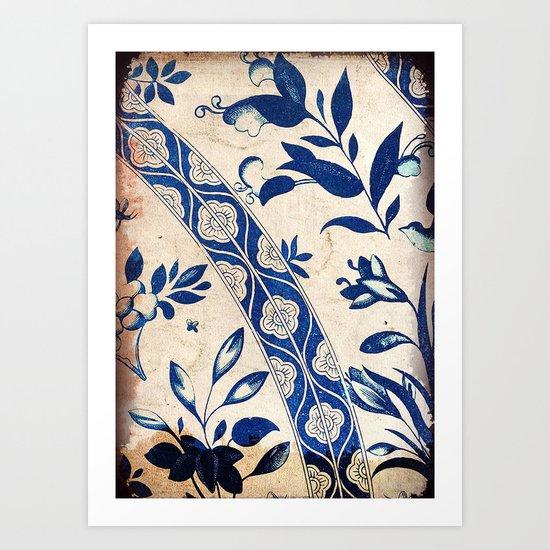 Blue Oriental Vintage Tile 04 Art Print