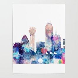 Blue Watercolor Dallas skyline design Poster