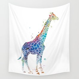 Blue Giraffe Wall Tapestry