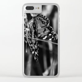 American Lady Butterfly in Black and White Clear iPhone Case
