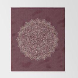 Rose Gold Marble Mandala Burgundy Textured Throw Blanket