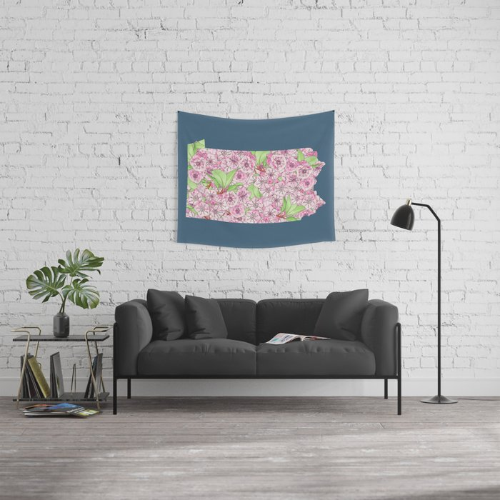 Pennsylvania in Flowers Wall Tapestry