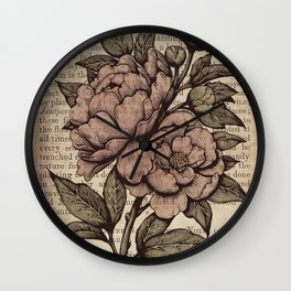 Peonies  - Color Wall Clock