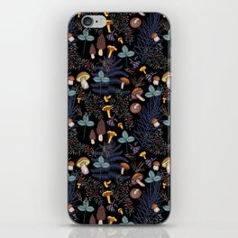 dark wild forest mushrooms iPhone Skin