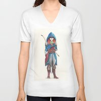 merida V-neck T-shirts featuring Assassin Merida by Amanda