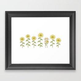 Sunflower Girl Framed Art Print