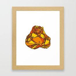 Laughing Buddha Dog Mosaic Color Framed Art Print