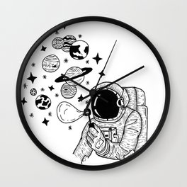 Astronaut Blowing Bubbles Wall Clock