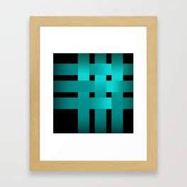 Abstraction .Weave turquoise satin ribbons . Patchwork . Framed Art Print