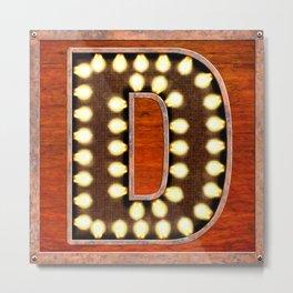 Monogram Letter D - Vintage Style Lighted Sign Metal Print