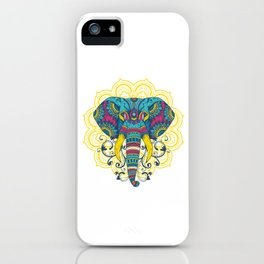 Wildlife Mammal Mammoth Colorful Elephant Mandala Animals Gift iPhone Case