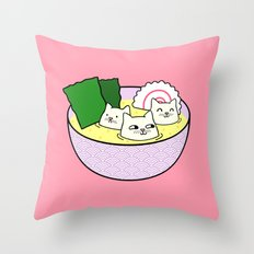 Tofu Cats in Miso Throw Pillow