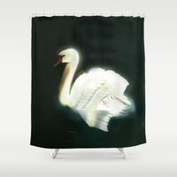 swan Shower Curtains featuring Swan by Jet McLeod