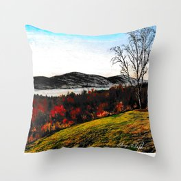 'Lake George Living' Adirondacks Mountains Original Drawing Throw Pillow