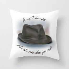 Hat for Leonard Cohen Throw Pillow
