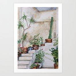Crete Courtyard Plants Art Print