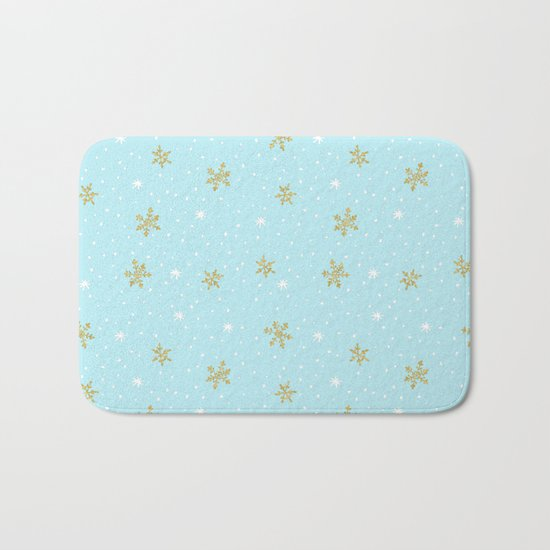 Merry christmas- abstract winter pattern with white & gold Snowflakes Bath Mat