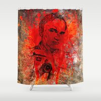 tarantino Shower Curtains featuring Quentin by Rabassa