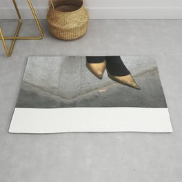 the girl in the gold shoes Rug