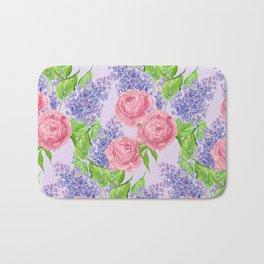 Watercolor peonies and lilacs Bath Mat