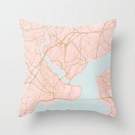 Istanbul map, Turkey Throw Pillow