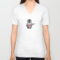 puerto rico V-neck T-shirts featuring Baby Penguin Playing Puerto Rican Flag Guitar by Jeff Bartels