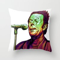 tom waits Throw Pillows featuring Waits by Mark Matlock