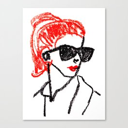 sunglasses and red hair Canvas Print