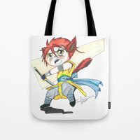 magic the gathering Tote Bags featuring Magic the Gathering Brimaz Cat Warrior Token by Deadlance