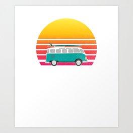 Cocoa Beach Retro Sunset Surfing Hippie Van  Art Print