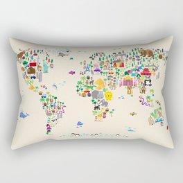 Animal Map of the World Rectangular Pillow