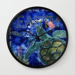 Clean Ocean Sea Turtle Art Wall Clock