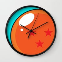 dragonball Wall Clocks featuring Sacred Dragonball by Hussein Ibrahim