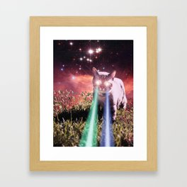 Mega Space Cat Rising Framed Art Print