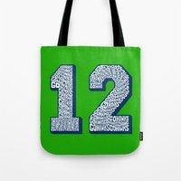 seahawks Tote Bags featuring Go Hawks 12_2 by Nuart Media Group