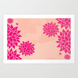 Pink Dahlias on Peach Art Print